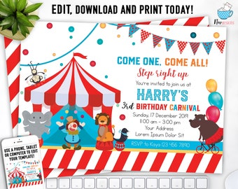 Instant Download Carnival Birthday Invitation Circus Themed