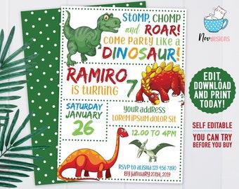 Instant Download Edit Yourself Dinosaur Birthday Invitation Editable