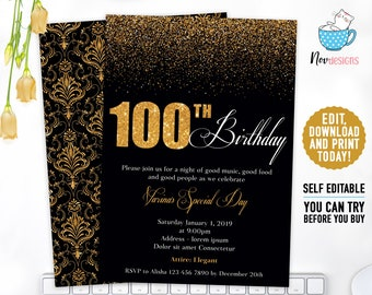 100th Women Birthday Invitation Gold Elegant Digital 5x7 In