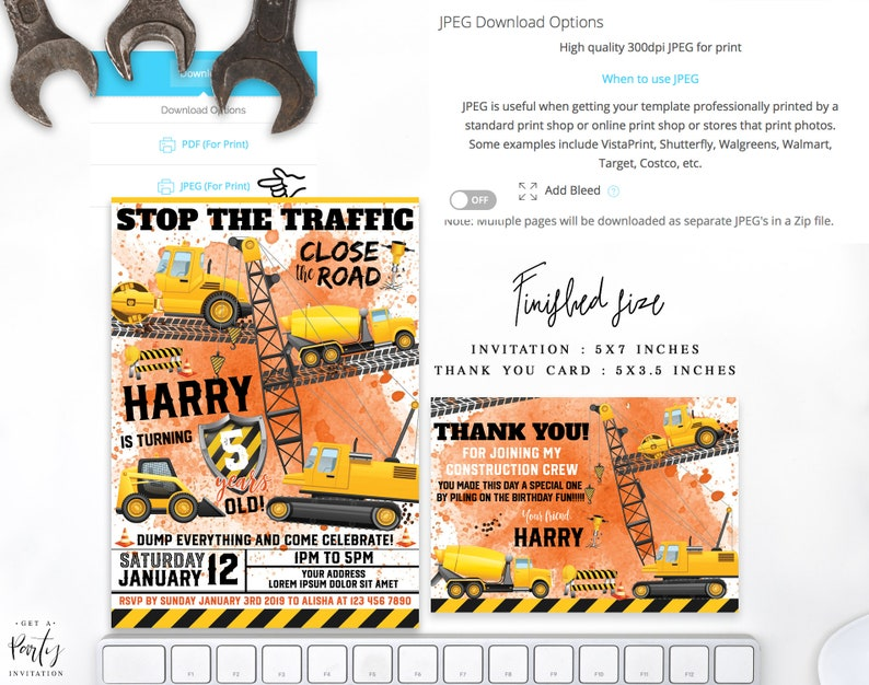 Instant Download Construction Party Invitation