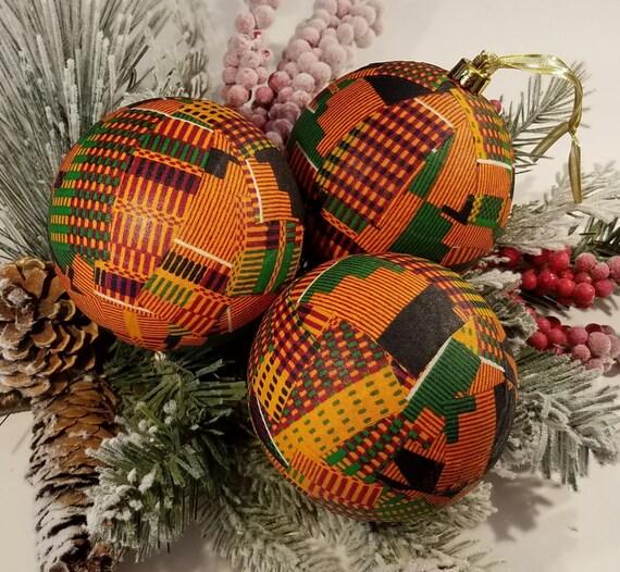 Kente African Ornaments Burnt Orange Kentegreat For Etsy