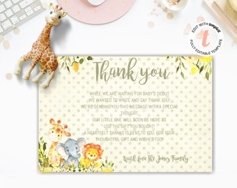 safari animal baby shower thank you card editable instant download