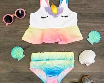 fabd2b2dbb3d0 2 Piece Unicorn Rainbow Metallic Shine Swimsuit Set- RESTOCKED! LIMITED TIME