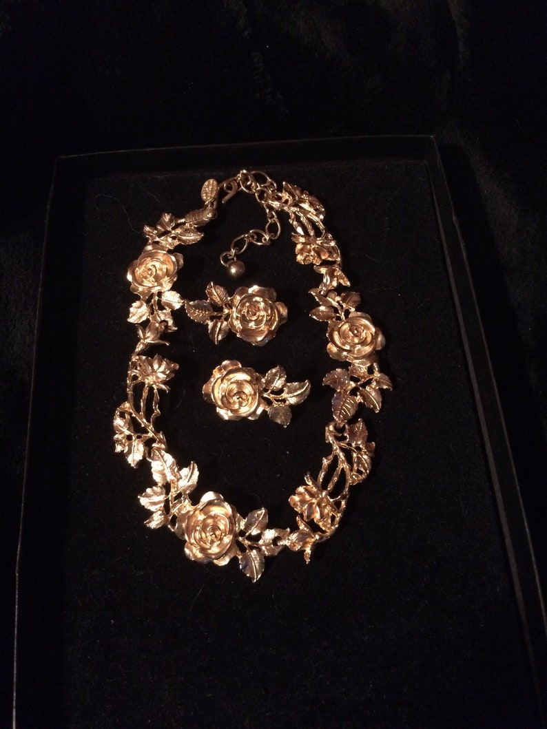 Famous Gold Plated Judith Worecek Mullen Vintage Rose and Leaf Necklace with Matching Clip On Earrings