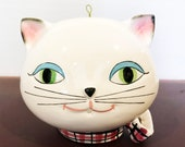 Holt Howard Cozy Kitten String Dispenser and Scissors Holder, Vintage Ceramic, Hand Painted, 1958