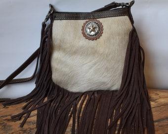 34f4a847f Cowhide Purse with Fringe Western Star Crossbody Bag
