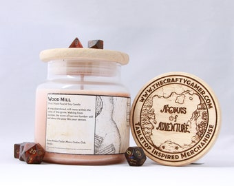 Wood Mill | 16 oz. Soy Candle | Dungeons & Dragons | Pathfinder | Tabletop Inspired Candle