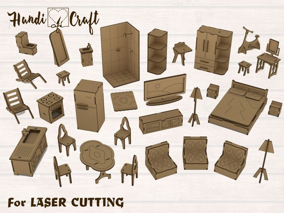 Dollhouse With Furniture Laser Cut Model Kit Cut Files Svg Dxf