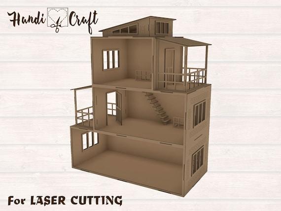 Doll House Laser Cut Vector DXF CDR CNC 3D Puzzle Plan Build Make Wood Kit 100