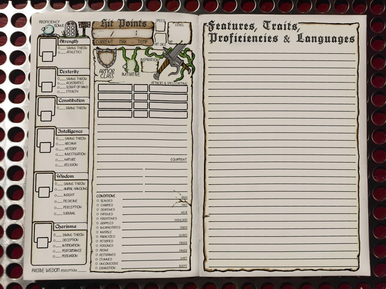 photograph regarding Dnd 5e Printable Character Sheet known as DD 5e Temperament Booklet Model 2 PACK Printable Dungeons and Dragons Personality Sheet DnD Purpose Taking part in Activity Electronic Down load