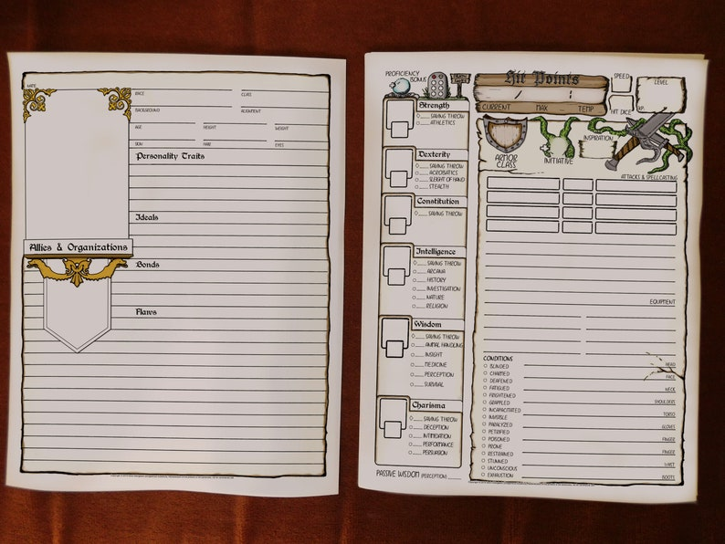 picture relating to Printable Dm Screen identify DD 5e Comprehensive Dimensions Persona Sheets 8.5x11 Printable Dungeons and Dragons Individuality Sheet DnD Job Taking part in Match Electronic Obtain