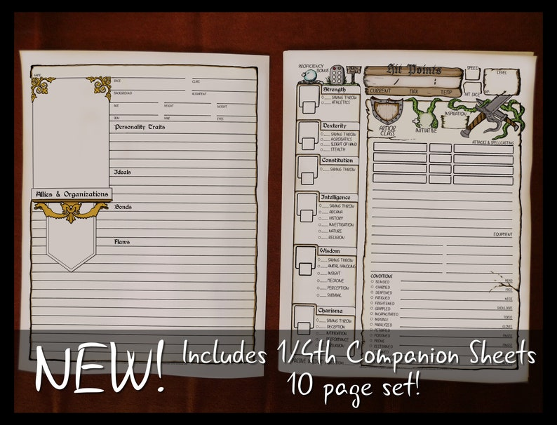 image regarding Dnd 5e Printable Character Sheet named DD 5e Finish Dimension Identity Sheets 8.5x11 Printable Dungeons and Dragons Identity Sheet DnD Job Taking part in Recreation Electronic Obtain