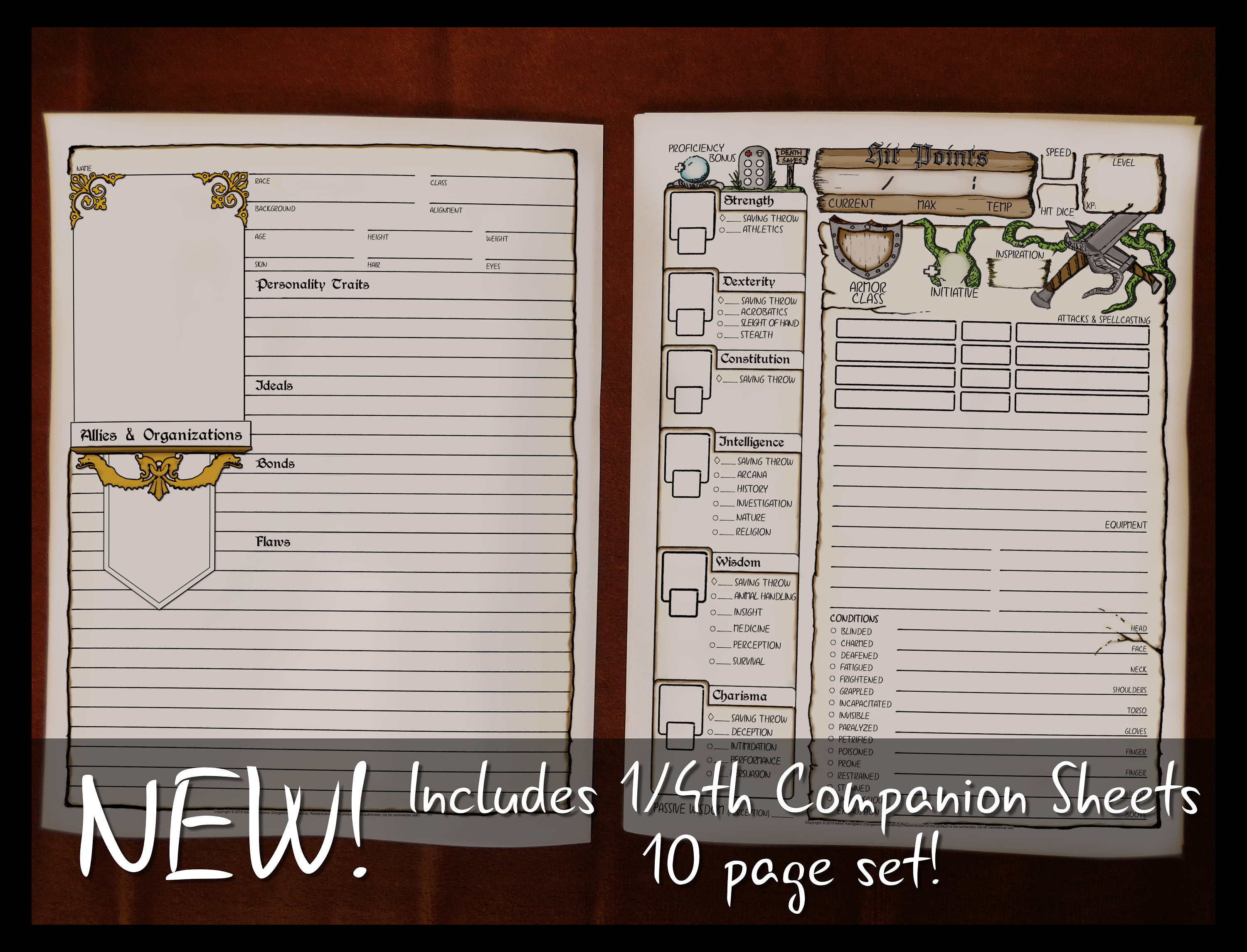 photograph regarding 5e Printable Character Sheet named DD 5e Entire Dimension Temperament Sheets 8.5x11 Printable Dungeons and Dragons Identity Sheet DnD Function Participating in Match Electronic Down load