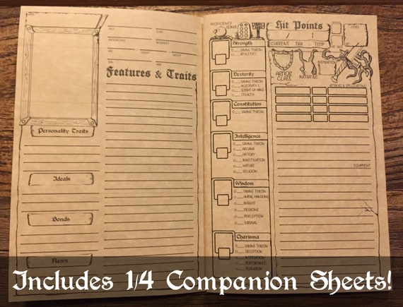 picture regarding Printable Dungeons and Dragons Character Sheet titled DD 5e Temperament Booklet Printable Dungeons and Dragons Identity Sheet  DnD Part Taking part in Sport Electronic Obtain