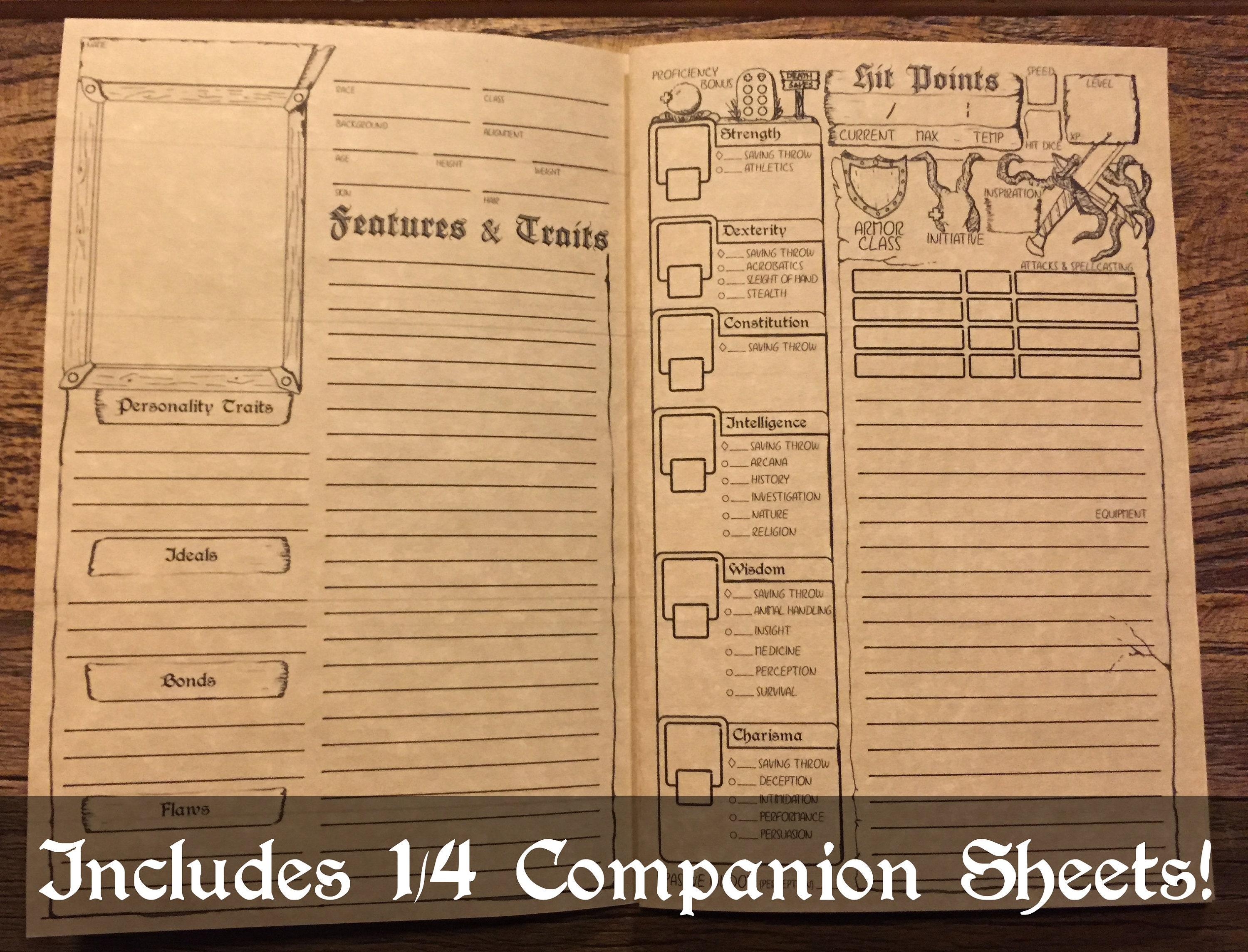 image relating to Dnd 5e Printable Character Sheet known as DD 5e Personality Booklet Printable Dungeons and Dragons Identity Sheet  DnD Part Taking part in Recreation Electronic Obtain