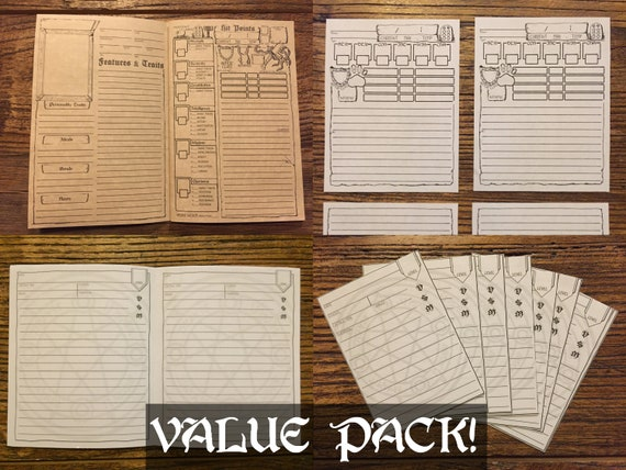photo regarding Printable Character Sheet 5e named DD 5e Printable Individuality Booklet PACK DnD Spell Playing cards Partner  Printable Dungeons and Dragons Individuality Sheet Purpose Actively playing Online games