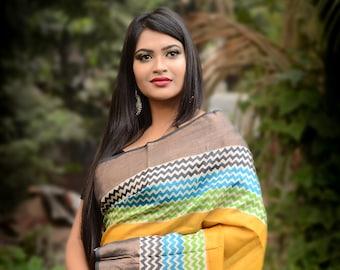 Handmade Zari Border Pure Tussar Silk Saree Hand Block Printed Handloom Sari Pure Tossor Saree Free Shipping with SilkMarkIndia Assurance