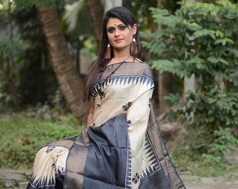 Zari Border Pure Tussar Silk Saree Bengal Handloom Hand Block Printed Handloom Sari Tossor Saree Free Shipping with SilkMarkIndia Assurance