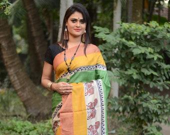 Handmade Zari Border Pure Tussar Silk Saree Bengal Handloom Hand Block Printed Sari Tossor Saree Free Shipping with SilkMarkIndia Assurance