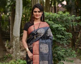 Bengal Zari Border Pure Tussar Silk Saree Hand Block Printed Handloom Sari Pure Tossor Free Shipping Handmade with SilkMarkIndia Assurance