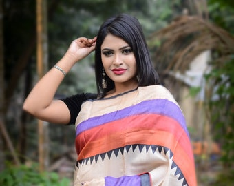 Bengal Zari Border Pure Tussar Silk Saree Hand Block Printed Handloom Sari Pure Tossor Saree Free Shipping with SilkMarkIndia Assurance
