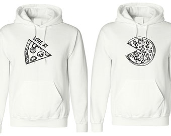 3d301d7bd6 Pizza Couple Matching Hoodie Couple Valentines Gift Love Bite Couple Hubby  Wifey Hoody Hood Engagement BF GF Hooded Pizza Lovers Hoodie