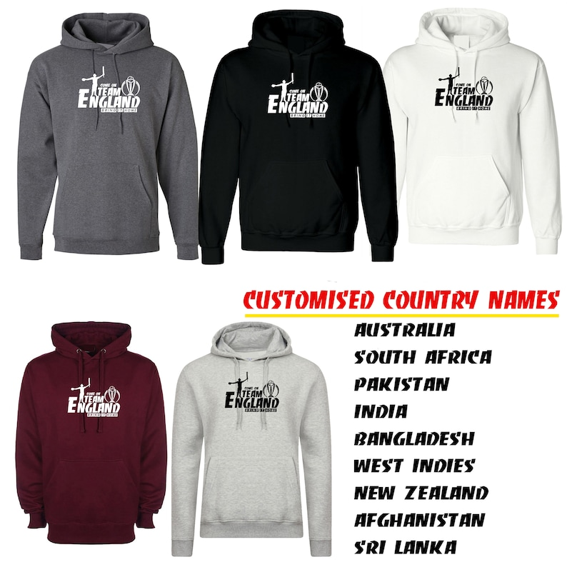 f07e4a9c86 Cricket World Cup England 2019 Hoodie I LOVE CRICKET Hoodie Funny MENS  Personalized Teams Hoody Customized countries Hood Gift Hooded