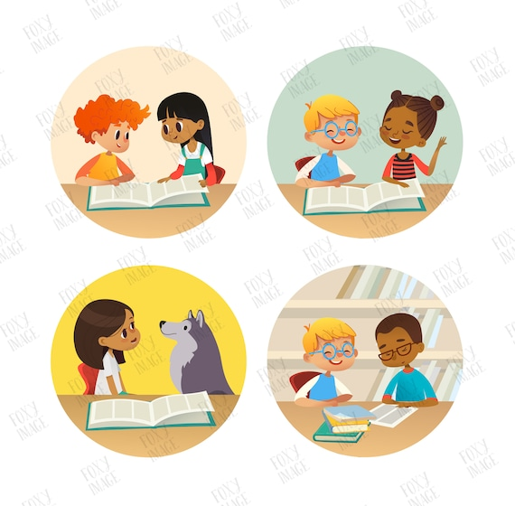 Kindergarten Kids Book Reading Kids In A Library Png Kids Reading Clipart School Kids Reading Digital Download Book Lover Reading Boy