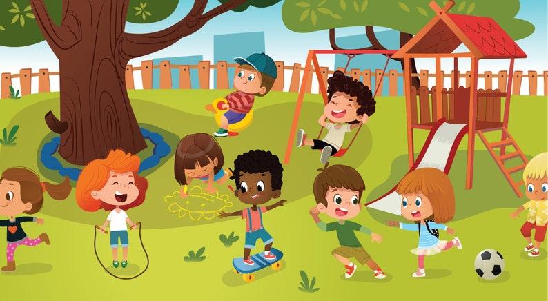 School Kids Kindergarten Clipart School Games Clipart Etsy