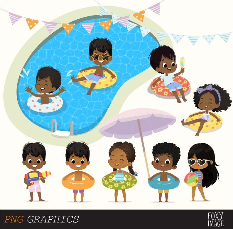 Digital Download Set Summer Kids Clip Art Girls and Boys Pool Party Clipart Pool Party Kids Swim Kids Happy Birthday Inflatable circle