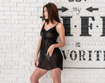 688a969ba68 See through lingerie Sheer dress Nightgown Mesh lingerie Sheer lingerie  Lingerie erotique Honeymoon lingerie Silk nightgown See through