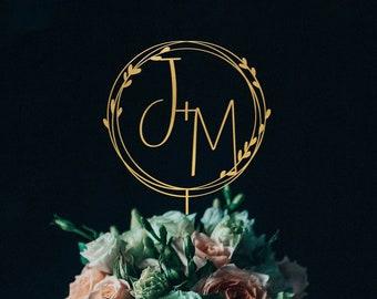 Gold monogram wedding cake topper Personalized,Custom initials cake topper,Mr and Mrs cake topper, Anniversary Baptism cake topper