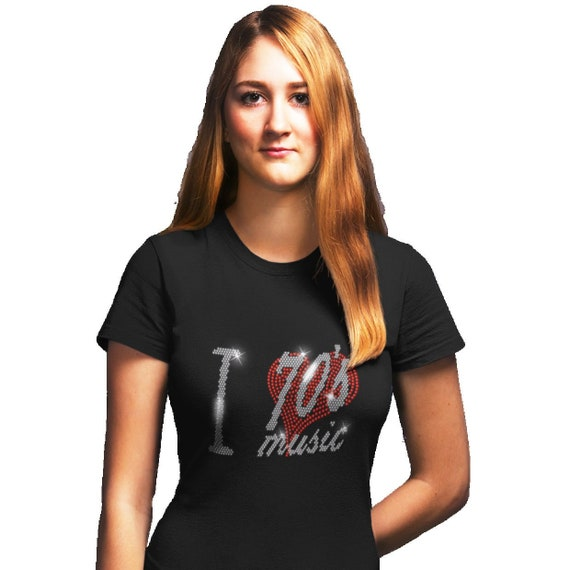 I LOVE 70s SEVENTIES MUSIC T SHIRT WITH RHINESTONE CRYSTAL DESIGN any size