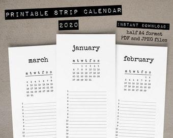2020 Half Calendar Printable / Strip Calendar Printable / Half Page A4 / PDF and JPEG / Vertical Strip Calendar / Typewriter Calendar