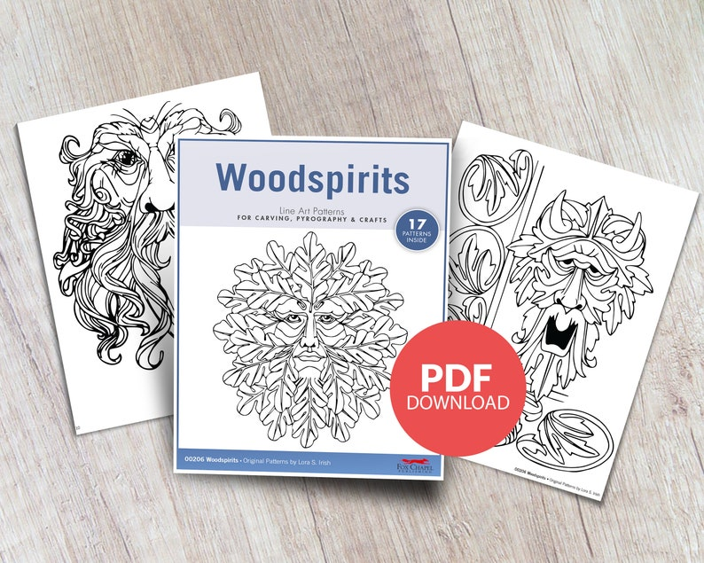 graphic relating to Printable Wood Carving Patterns named Woodspirits Printable Layouts - PDF Obtain