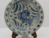 Chinese antique blue and white porcelain plate