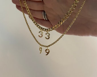 Gold Lucky number necklace