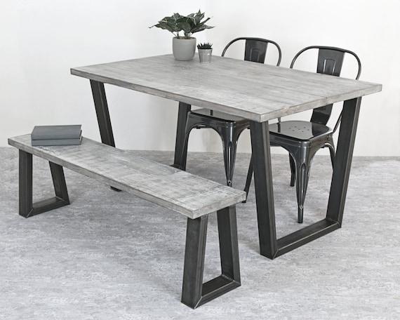 Incredible Industrial Dining Table Grey Table Rustic Dining Table Industrial Furniture Rustic Furniture Trapeze Base Table Mild Steel Legs Customarchery Wood Chair Design Ideas Customarcherynet