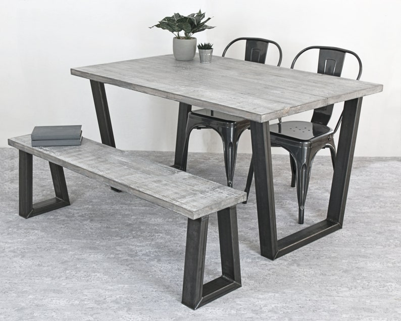 Miraculous Industrial Dining Table Grey Table Rustic Dining Table Industrial Furniture Rustic Furniture Trapeze Base Table Mild Steel Legs Home Interior And Landscaping Eliaenasavecom