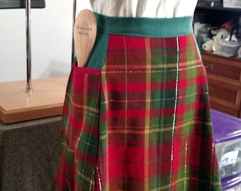 Red Green Tartan Pattern Sublimation Apron