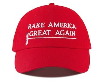 f0b2dfe8e5621 Rake America Great Again Embroidered Hat   Parody of the Trump Make America  Great Again Cap MAGA