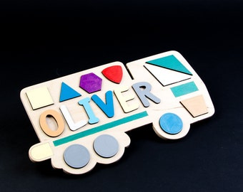 Name Puzzle Personalized Toddler Gifts 1st Birthday Gift Boy Room Decor Kids Children Wood Car Toy