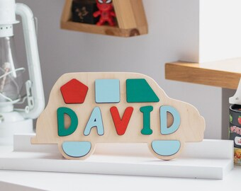 Baby Boy 1st First Birthday Gift Wood Name Puzzle Personalized Toddler Wooden Toys Nursery Room Decor For Toddlers New
