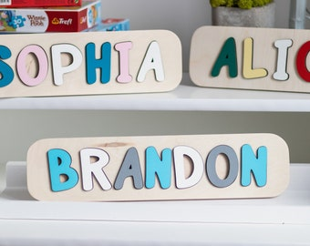 Baby Boy Name Puzzle Girl 1st Birthday Gift Personalized Wooden First Engraved Kids Toys