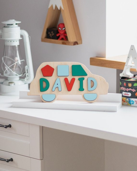 Wooden Name Puzzle Toddler Boy Toy 1st Birthday Gift For Baby