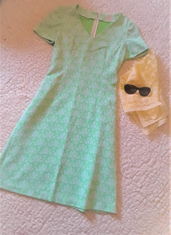 Muted Lime Green 1960's Mod Dress