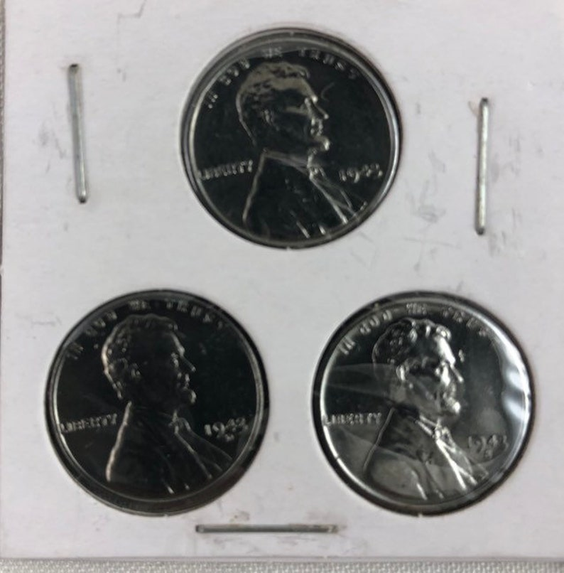 1943 P-D-S Steel Set of 3 Coins Penny Cent Philadelphia, Denver, San  Francisco Mint Genuine Authentic US Coin