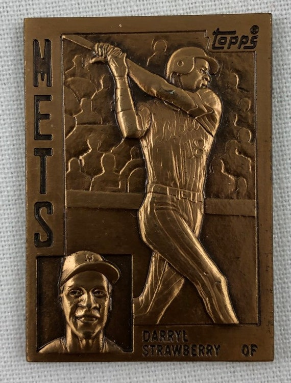 Vintage 1984 Darryl Strawberry 14 Scale Bronze Topps Rookie Baseball Card # 182 New York Mets Original Authentic EC-25 Great Dad Gift
