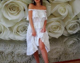 933fc17f70 Beach wedding dress short casual Spaghetti strap loose wedding gown Linen  bridal dress plus size White lace Boho Bohemian Hippie tunic dress
