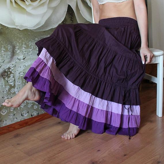 Long purple cotton Bohemian skirt women with flounces of purple shades Oversize organic dancing skirt Eco friendly boho Vegan Hippy skirts